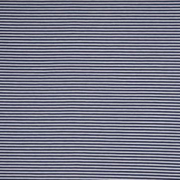 Baumwoll-Jersey Streifen 3mm weiß-blau